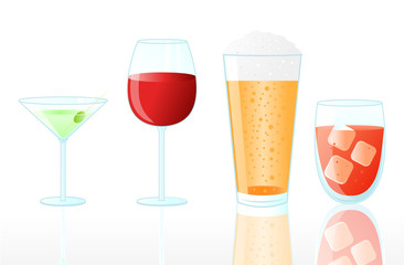 Collection of Drinks on White Background.