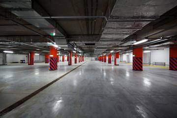 Parking garage interior, industrial building, Empty underground parking
