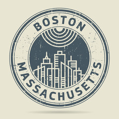 Grunge rubber stamp or label with text Boston, Massachusetts