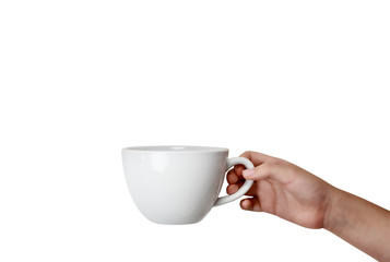 Isolated Hand Holding Coffee Cup