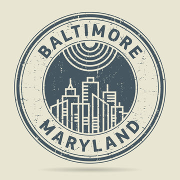 Grunge rubber stamp or label with text Baltimore, Maryland