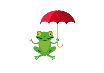 Frog with umbrella vector. Cartoon Character Frog. Happy green frog vector illustration