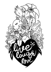Love hand lettering and doodles elements sketch. Vector illustration