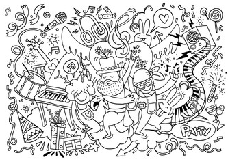 Hand drawing Doodle Vector Illustration of Funny party people ,F