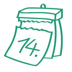 Handgezeichneter Kalender - Tag 14 in grün