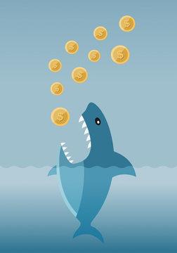 Greedy Loan Shark, vector illustration of a shark ready to eat all your money