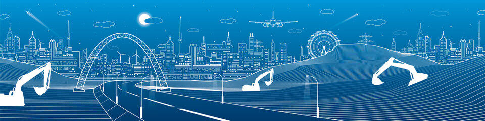 City infrastructure panorama, industrial landscape, building cranes and excavators, road under the bridge, urban scene, neon lights town, vector design art