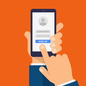 Sign Up on smartphone screen. Hand holds the smartphone and finger touches screen. Modern Flat design illustration.