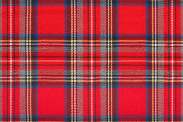 Red tartan, checkered scottish fabric macro, texture background