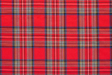 Red plaid, checkered scottish fabric texture background