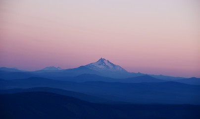 Snow-Capped Mount Jefferson, Oregon at Dusk - Beautiful Snowy Mountain Landscape