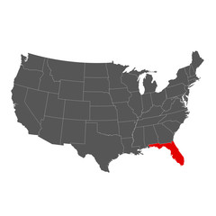 United States of America with Florida Highlighted Map