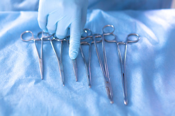 Surgical instruments are on the table before the operation
