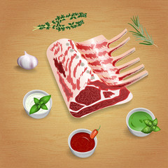 Crude organic lamb chops with herbs and sauces on the board. For