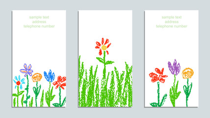 Set of wax crayon like kid`s drawn colorful cards with colorful flowers with green grass on white. Hand drawn art vector meadow background. Like child`s painting pastel chalk design elements