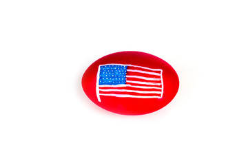 Easter egg with USA flag pattern