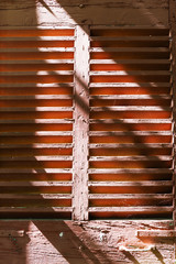 Detail of traditional French window shutters in Aix-en-Provence, France.
