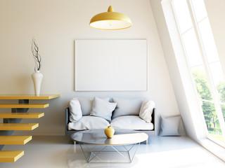 Modern interior 3d render mockup