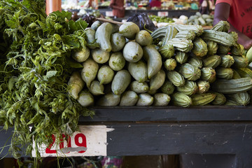 Flacq Market, Mauritius. Market Stall. Close up of fresh produce.