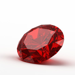 Ruby isolated on white background, 3d illustration.