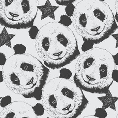 Hand-drawn seamless pattern background with panda and star