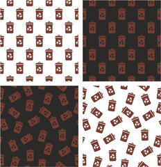 Brown Recycling Trash Can for Biodegradable Waste Aligned & Random Seamless Pattern Color Set