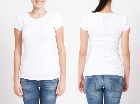 T-shirt design and people concept - close up of young woman in blank white t-shirt, shirt, front and rear isolated. Clean shirt mock up for design set.