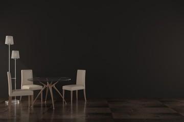 3drender concept design modern furniture in the black room with lighting