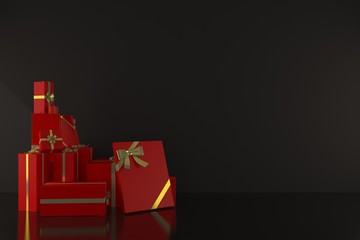 3drender happy concept design Red Gift box in the black room with lighting