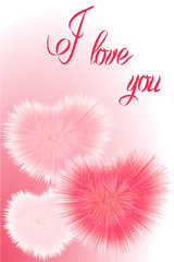 Fluffy hearts on a gradient background. For banners and invitations. Valentine's Day. Vector illustration.
