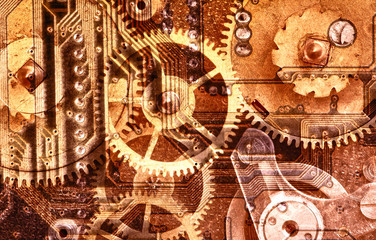 brown industrial background with gears