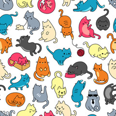Cat Color Seamless Pattern And Background