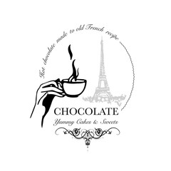 Hand drawn logo for cafe or hot chocolate outlet with hand holding steaming cup with Eiffel Tower in background. Vector Illustration