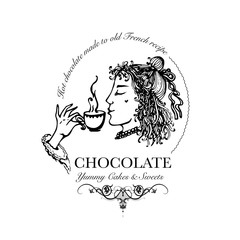 Hand drawn logo for cafe, hot chocolate outlet with elegant lady holding chocolate cup. Vector Illustration