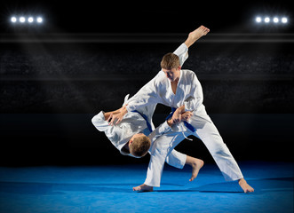 Photo sur Plexiglas Combat Boys martial arts fighters