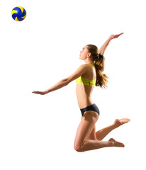 Young woman beach volleyball player