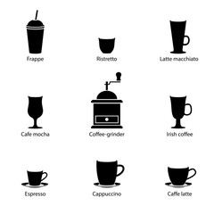 Vector black & white cups of coffee collection