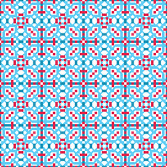 Abstract seamless geometric op blue & red pattern