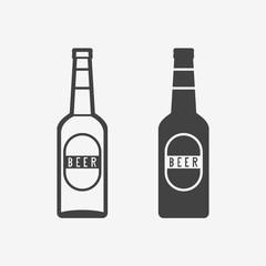 Beer bottle monochrome icon. Vector illustration.
