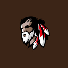 Indian chief. Logo or icon. Vector mascot isolated
