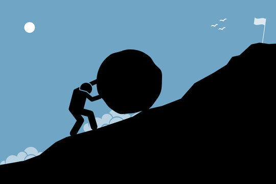 A strong man pushing a big rock up the hill to reach the goal on top. Artwork depicting hard work, challenge, mission, and accomplishment.