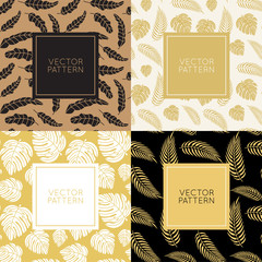 Vector set of design elements for packaging and seamless pattern