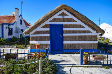 Straw hut in Cais Palafítico, Portugal