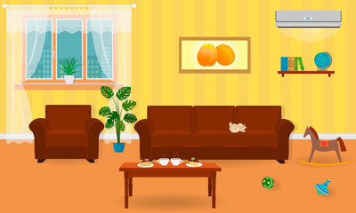 Living room interior in bright colors including a sofa, armchair, coffee table, air conditioning, toys.