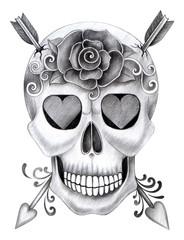 Skull tattoo. Art design skull head smiley face for tattoo hand pencil drawing on paper.