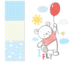 Little Bear is flying in a balloon. Surface pattern and 3 seamle