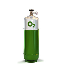 Green compressed Oxygen Gas Container with high pressure regulator. 3d rendering isolated on white background
