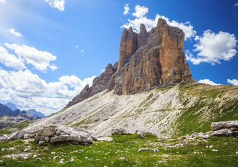 Tre Cime (Three Peaks) di Lavaredo - Famous Mountains in Dolomites. Very popular touristic place in North Italy