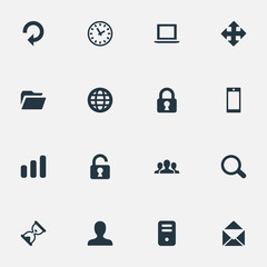 Set Of 16 Simple Practice Icons. Can Be Found Such Elements As Lock, Notebook, Sand Timer.