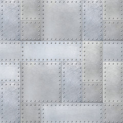 Wall Mural - Steel metal plates background with rivets